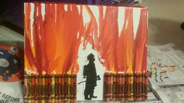 Firefighter melted crayon art