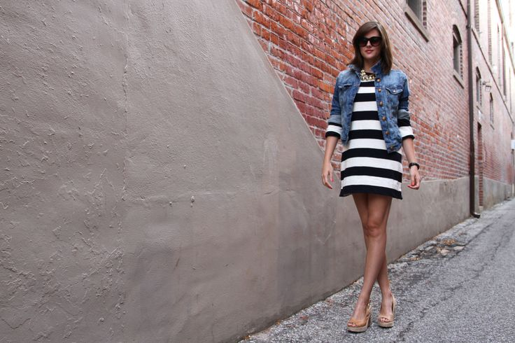 Fashion Blogger, Personal Style Blogger, Personal Style Blog, What I Wore, WhatIWore, What I Wore Today, Jessica Quirk, What I Wore jessica, J.Crew, Denim Jacket, How to wear stripes and a Jean jacket, Nude wedges, Timex Black on Black Python Watch, Tumblr Fashion Blog,