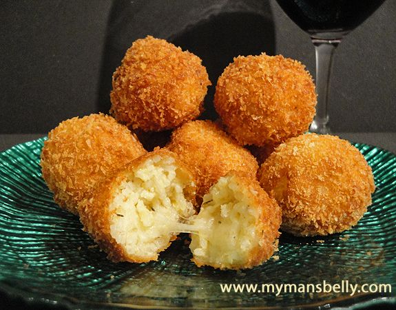 arincini di riso (fried Italian risotto balls). With marinara dipping ...