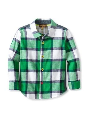 76% OFF Kartoons Kid's Flannel Button-Up Shirt with Knit Trim (Green Plaid)