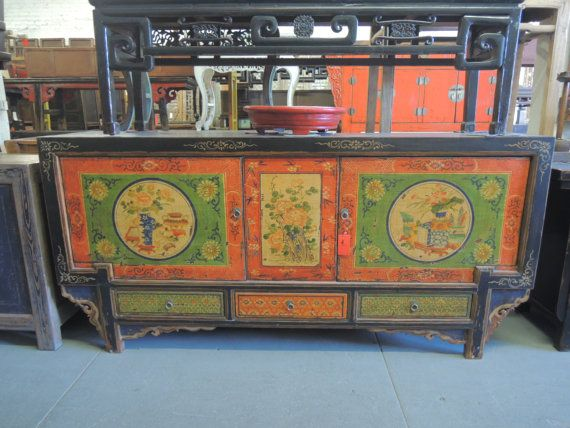 Antique Chinese Storage Credenza In Distressed By ModernRedLA