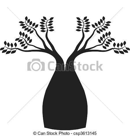 Vector - Australian boab tree - stock illustration, royalty free illustrations, stock clip art icon, stock clipart icons, logo, line art, EPS picture, pictures, graphic, graphics, drawing, drawings, vector image, artwork, EPS vector art