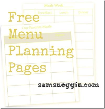 menu planning pages