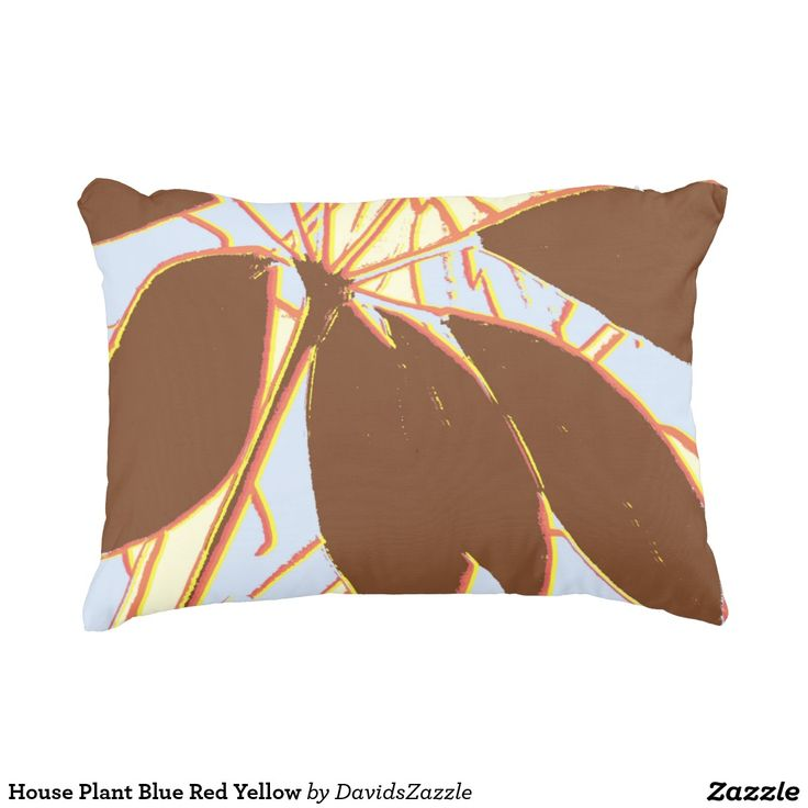 House Plant Blue Red Yellow Throw Pillow  Available on more products, type in the name of this design in the search bar on my products page to view them all!  #plant #house #green #yellow #red #brown #pattern #print #all #over #abstract #plant #nature #earth #life #style #lifestyle #chic #modern #contemporary #throw #pillow #home #decor