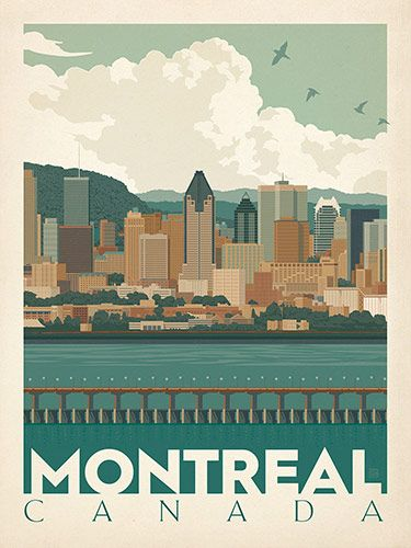 Canada: Montreal Skyline - Our most adventurous series of classic travel poster art is called the World Travel Poster Collection. We were inspired by vintage travel prints from the Golden Age of Poster Design (a glorious period spanning the late-1800s to the mid-1900s.) So we set out to create a collection of brand new international prints with a bold and fresh feel.