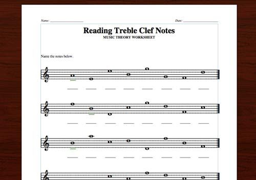 Reading Treble Notes Free Printable Theory Worksheet The