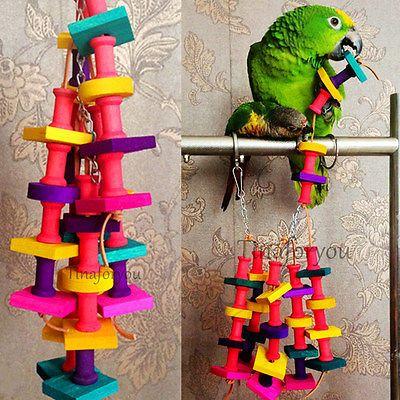 Jouets A Mâcher Hamster Lapin Oiseau Perroquet En Bois Suspendu Cage 38 x 10cm