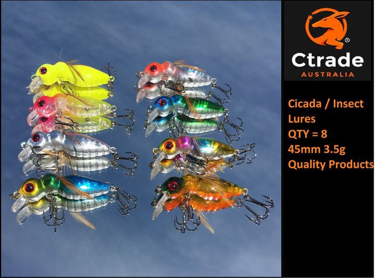 Cicada Lure Bass Lure Trout Lure Insect Lure Bream Lure Qty = 8 ! 45mm 3.5g Aus!
