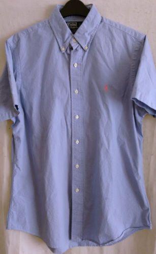 RALPH-LAUREN-POLO-mens-short-sleeve-check-shirt-size-16-40-41-cotton-custom-fit