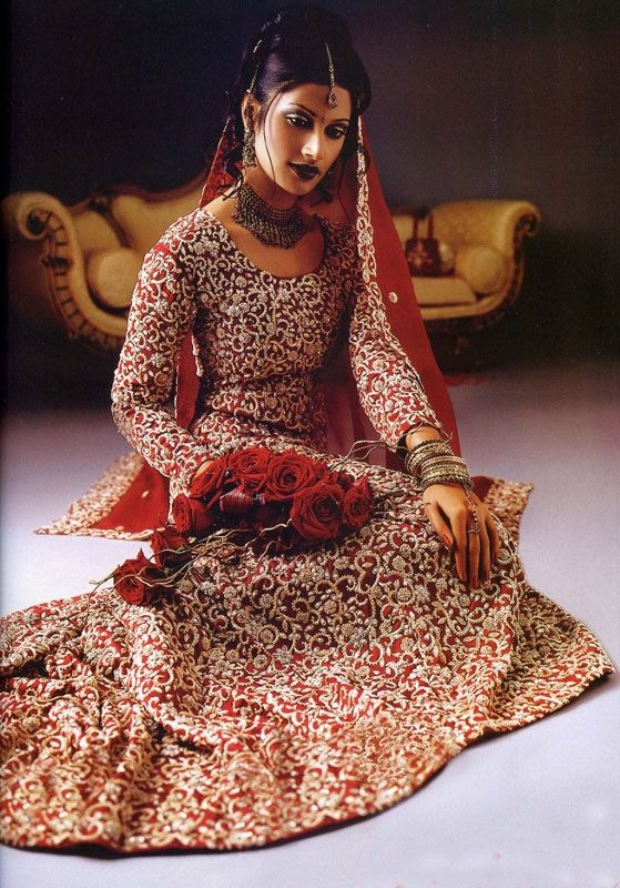 Red And Silver Embroidery Indian Bridal Lengha Indian