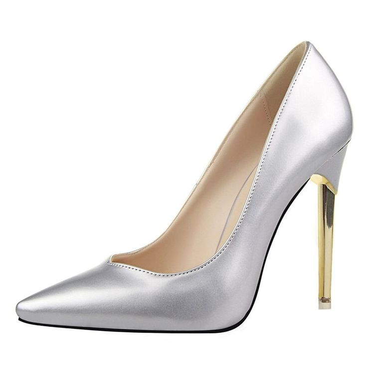 Hydne Women's Fashionable Europe Simple Metal Heels Sexy Leather Thin High Heels Shoes -- This is an Amazon Affiliate link. Want additional info? Click on the image.