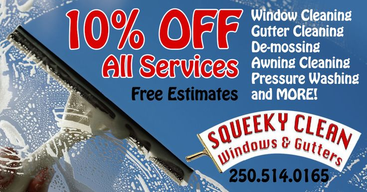 Cleaning windows is a pane... but having gorgeous, gleaming glass shining throughout your home is a joy! Call Squeeky Clean Windows and Gutters for all your tough outdoor cleaning and receive 10% OFF all services with your GoCard! Get a GoCard here//bit.ly/2qlGbI2 #SookeGoCard #SqueekyCleanWindowsAndGutters