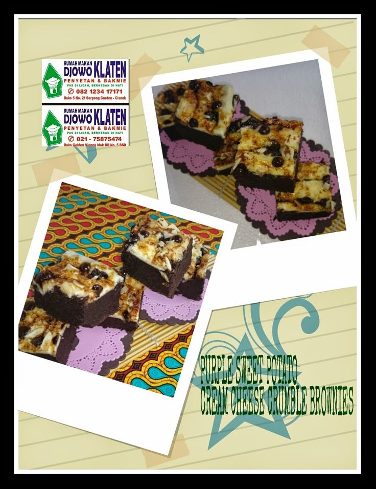 Rumah Makan DJOWO KLATEN: PURPLE SWEET POTATO CREAM CHEESE CRUMBLE BROWNIES