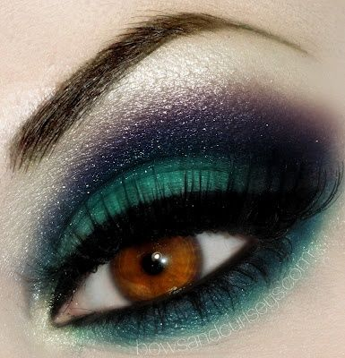 Dark blue and teal smoky eye makeup for brown eyes  by Bows and Curtseys makeup