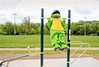 The Cranberry Township mascot gets a first look at Greenfields' fitness equipment!
