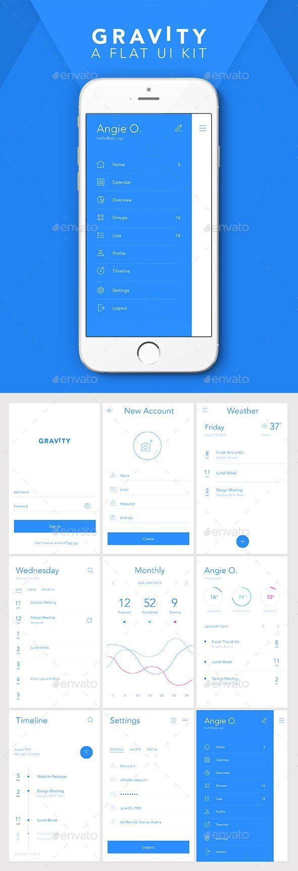 gravity flat mobile user interface kit template psd design ui