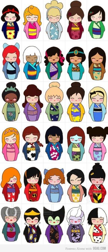 Sofunkylicious: Les héroïnes Disney en poupées japonaises