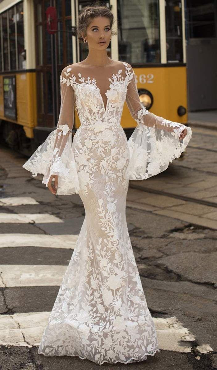 Tarik Ediz 50407 Floral Lace Long Bell Sleeve Mermaid Dress