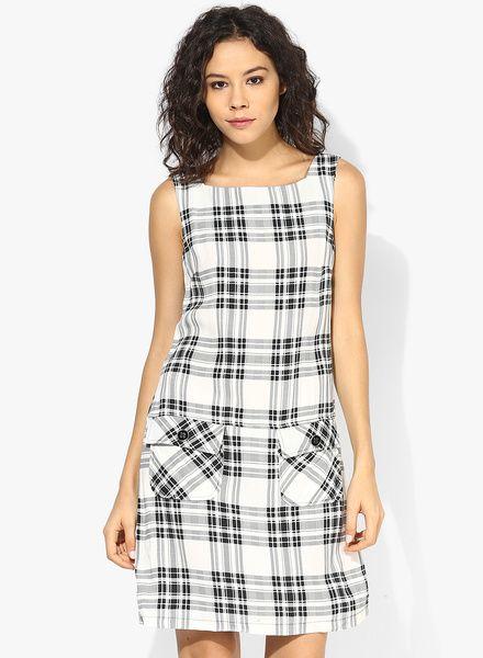 Off White/Black Checked Shift Dress