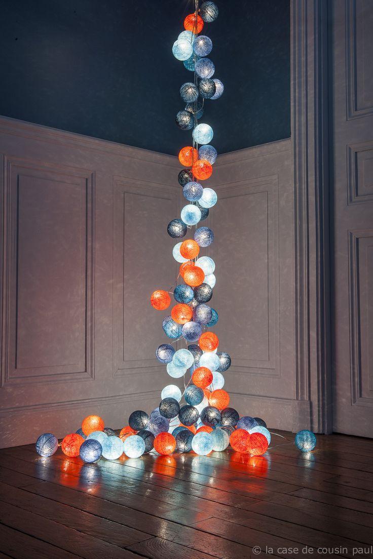 AUTOMNE 2 guirlandes de 50 boules (bleu ciel, bleu poudré, turquoise, bleu canard, orange ) / la case de cousin paul ©