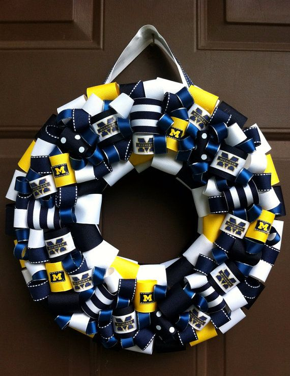 Michigan Wolverines ribbon wreath