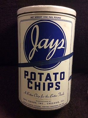Vintage Jay's Potato Chip Metal Tin Can Canister NATIONAL CAN Chicago IL