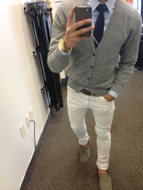 Huge fan of white chinos, however, pairing shoes with white pants takes skill. Stick to browns, black and dark Blue, Matching with belt or tie to bring it all together | Raddest Men's Fashion Looks On The Internet: http://www.raddestlooks.org