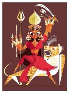 Durga  The Big Poster Book of Hindu Deities: 12 Removable Prints (9781452102801): Sanjay Patel: Books