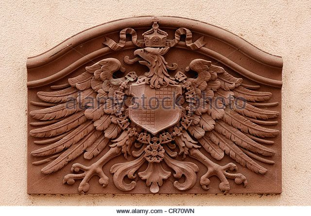 Imperial Eagle of Prussia, on the main facade of the former Adler Hotel, 1900, Gengenbach, Baden-Wuerttemberg, Germany, - Stock Image