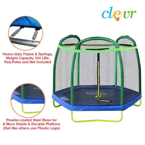 New Clevr 7FT Trampoline Bounce Jump Safety Enclosure Net W/ Spring Pad Round - $149.99