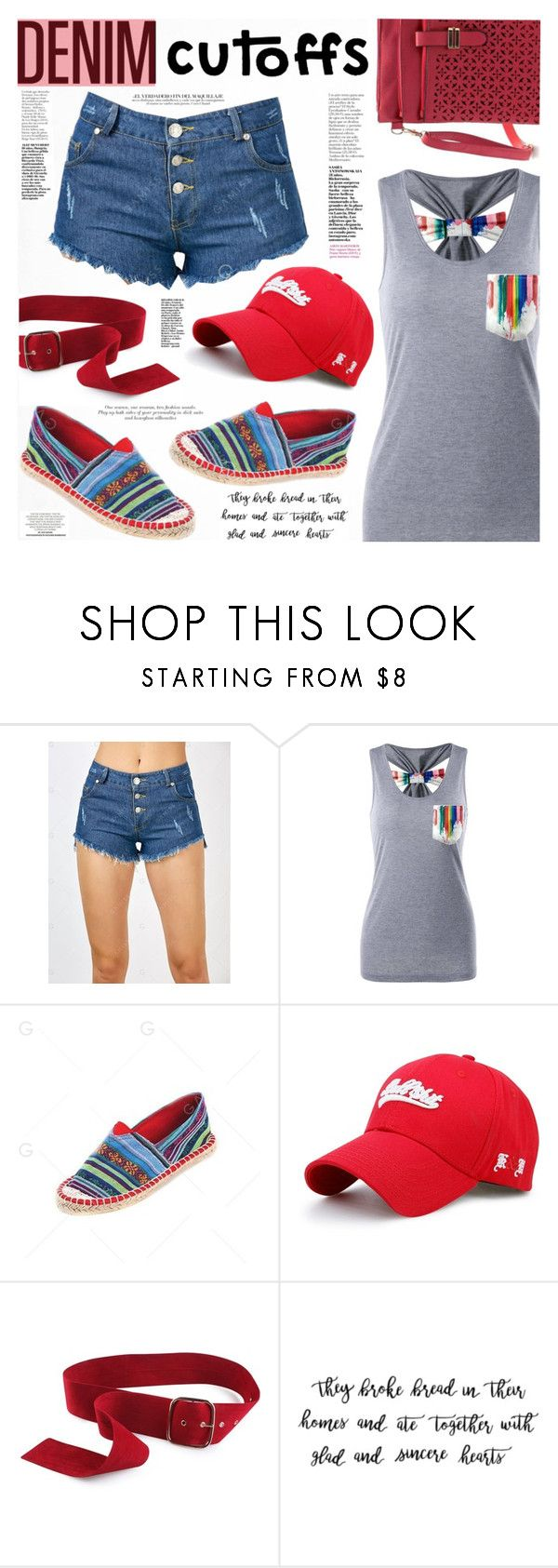 """Summer Staple: Denim Cutoffs"" by katjuncica ❤ liked on Polyvore featuring red, tanktop, shorts, summerstyle and DENIMCUTOFFS"