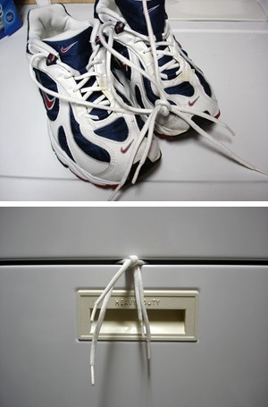 How to dry shoes in a dryer w/out noise or damage.  So freaking smart.