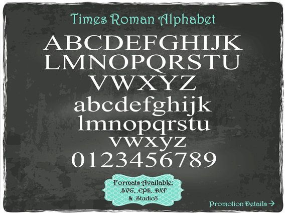 Times Roman Alphabet and Numbers in .SVG .EPS by TheSVGFontStore