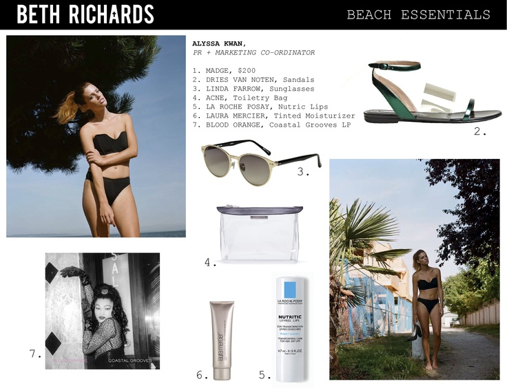 Our PR & Marketing Coordinator, Alyssa Kwan is packed and ready for the long weekend in her Madge swimsuit along with these other beach essentials.    Shop the collection at http://www.net-a-porter.com/Shop/Designers/Beth_Richards