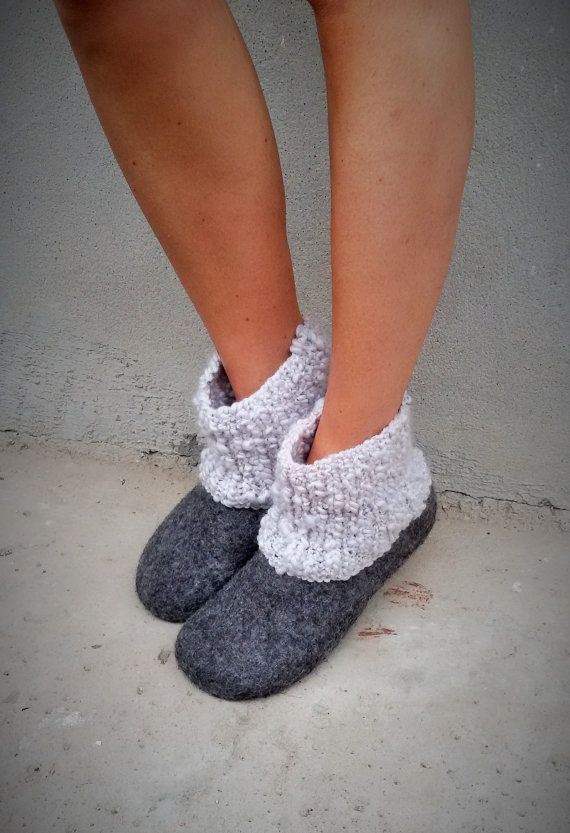 Womens slippers, felted slippers, booties, handmade, made to order, Christmas gift