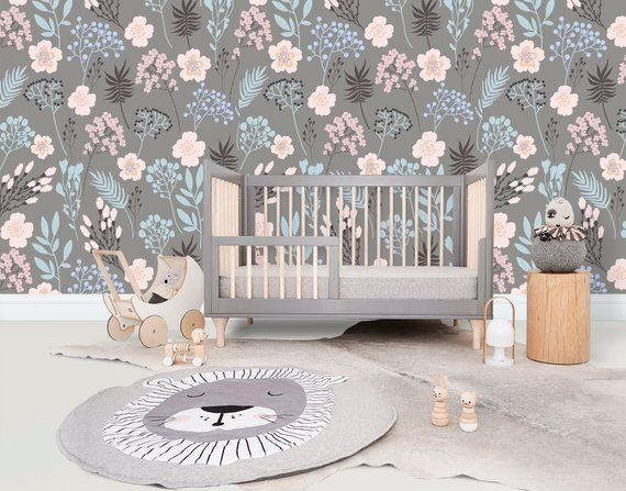 perfect for nursery High quality peel and stick removable self adhesive wallpaper vintage floral pattern girl room play room