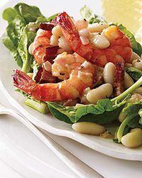 Warm Spinach Salad with Cannellini Beans and Shrimp - Warm Winter Salads from Food & Wine