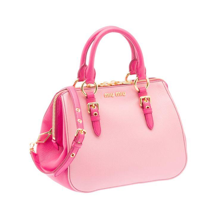 Miu Miu RL0058 2A11 F0OGR Madras Bicolore Top Handle – Pink