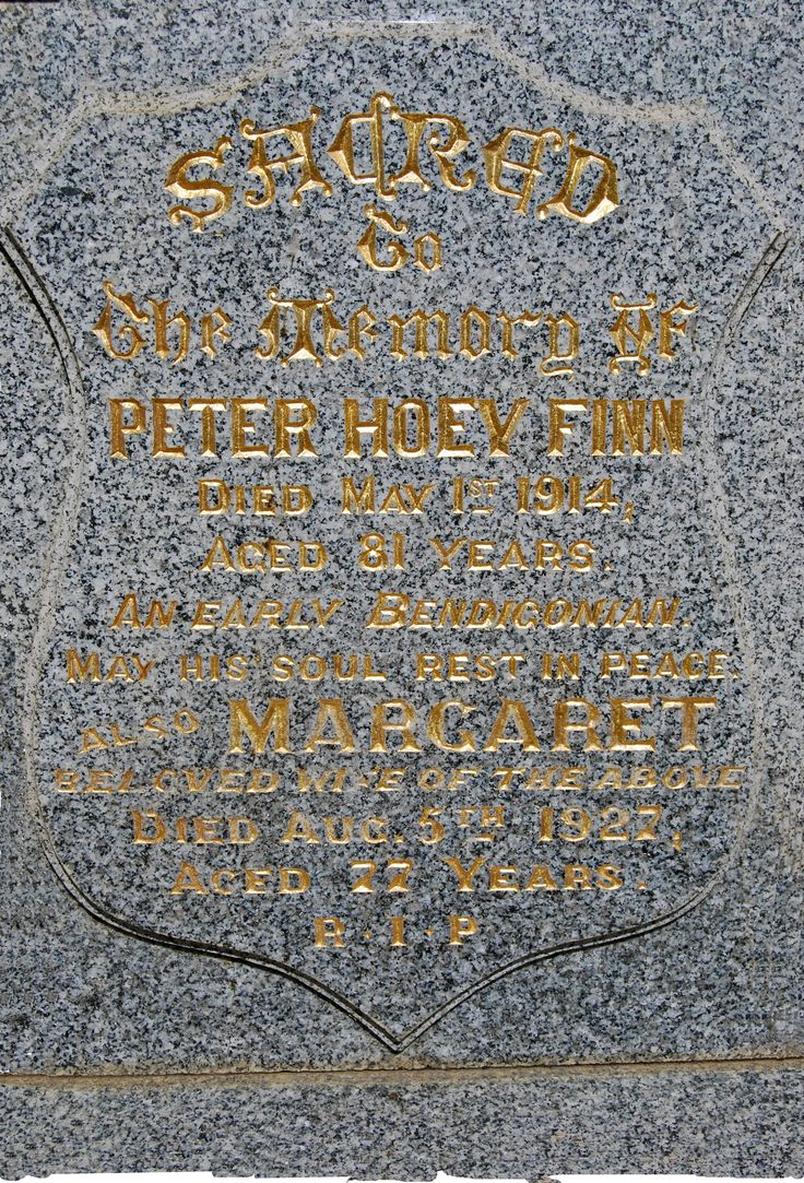 Peter Hoey Finn`s monument Bendigo. Photo Cathy Anderson