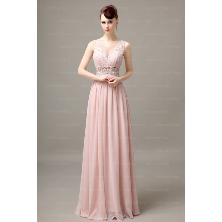 lace blush pink prom dress, want to try it?