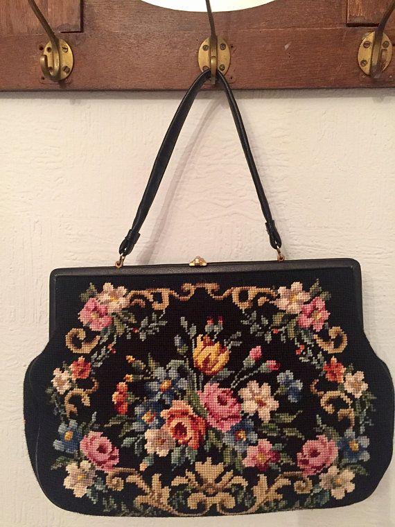 große Vintage Gobelintasche, Handtasche, schwarz mit bunten