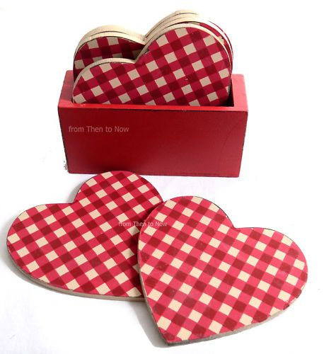 6 x Cream Red Gingham Check Wood Heart Coasters Mats