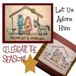 Stitchery Pattern: Let Us Adore Him