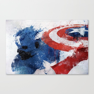 Captain America Stretched Canvas by Melissa Smith - $85.00