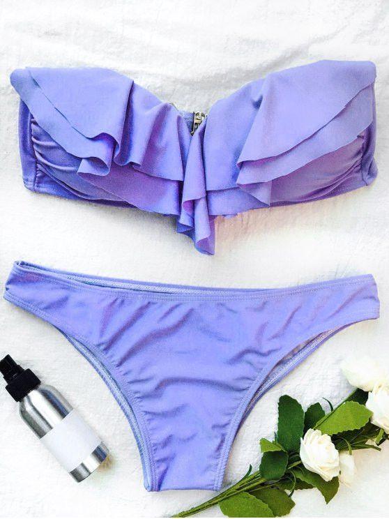 Bandeau Flounce Bikini Set