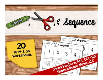 This download includes 20 Cut, Color, & Sequence worksheets in black and white for easy print and go therapy. Give your student one worksheet. Read the four sentences at the bottom of the page. Allow the student to color the images while you prompt them to retell you what happens on each card.