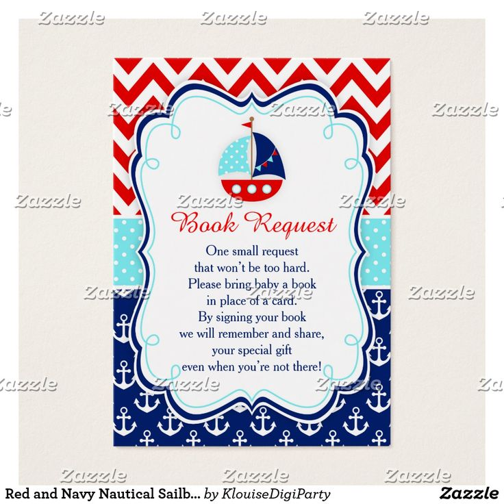Red and Navy Nautical Sailboat Baby Book Request Business Card