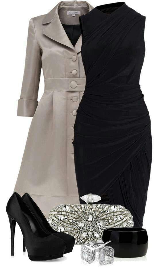 #WinningWomanStyle 3.4 sleeve tuxedo long coat #black dress, pumps & #bejeweled accessories Instylefashion1