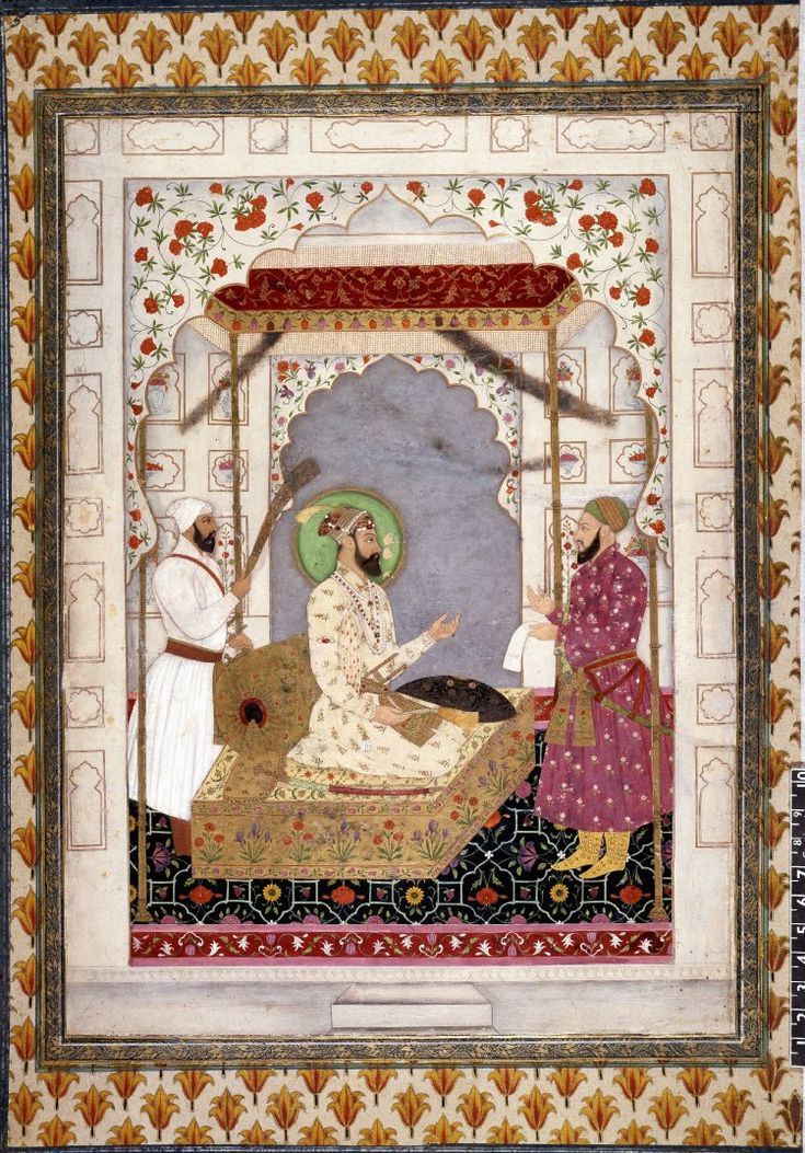 Aurangzeb seated under canopy with attendants