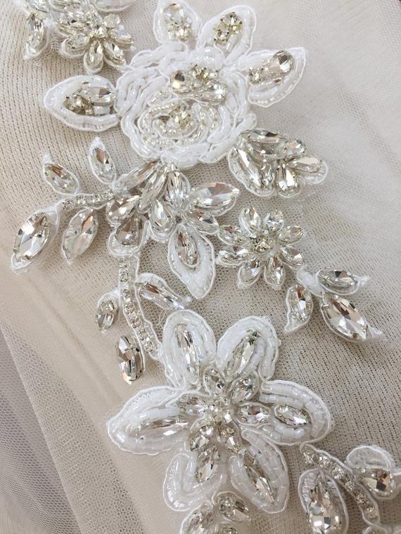 Two Colour Crystal Bridal Belt Wedding Dress Sash Belt Beaded Applique Patch